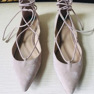 Vince Camuto Beige Suede Ankle Wrap Flats